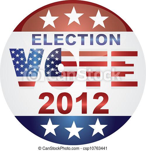 Vote Election 2012 Button Illustration - csp10763441