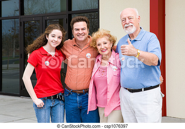 Election - Family Outside Polls - csp1076397