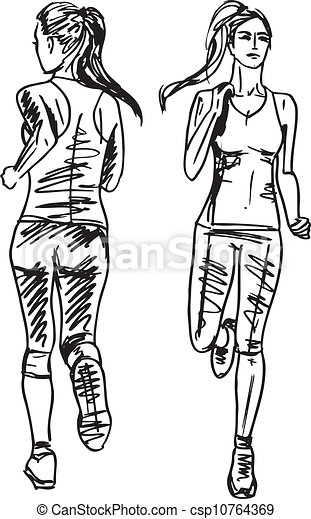 Clip art vecteur de coureur croquis dos illustration vecteur femme vue csp10764369 - Coureur dessin ...