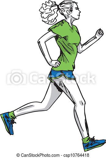 Clip art vecteur de croquis coureur illustration vecteur femme marathon csp10764418 - Coureur dessin ...