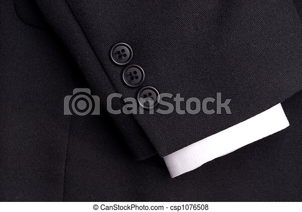 closeup of a suit sleeve with a white cuff - csp1076508