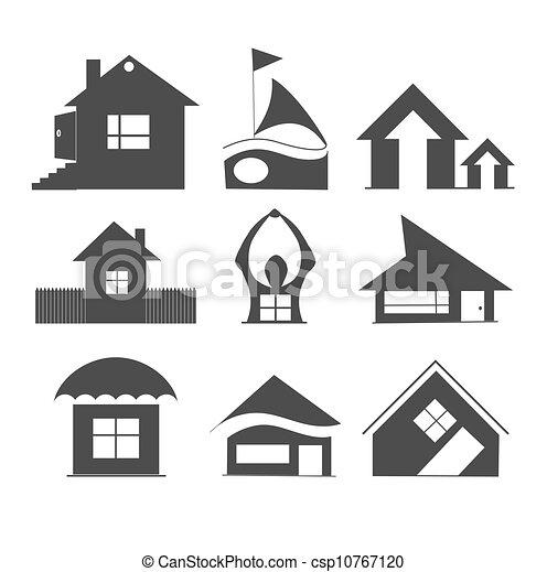 ilustraciones de vectores de casas iconos csp10767120