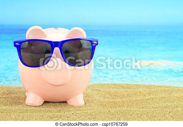 sommer, sandstrand, sonnenbrille, Schweinchen,  bank - csp10767259