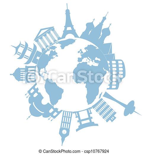 World travel landmarks and monuments - csp10767924