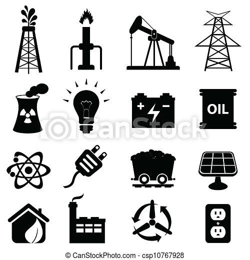 Énergie, ensemble, icône - csp10767928