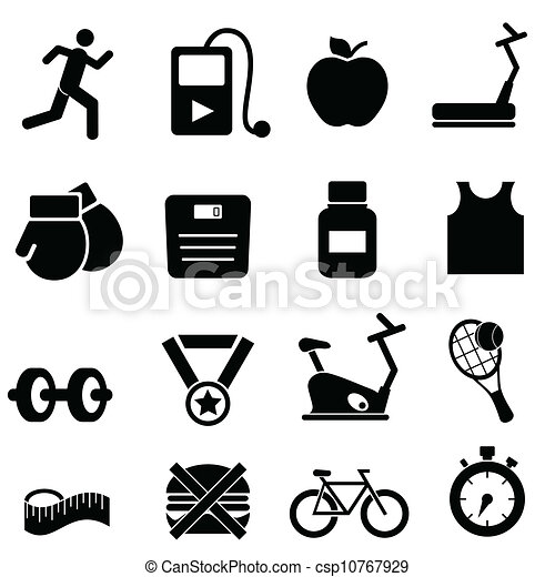 Fitness, health and diet icons - csp10767929