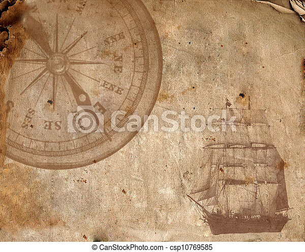 Compass on the old paper  - csp10769585