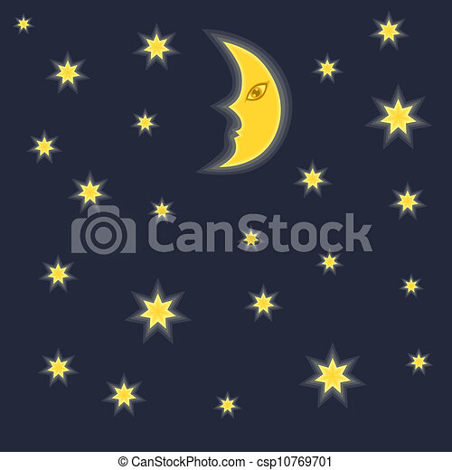 Vector Clipart of Moon and stars - Night sky background with moon ...