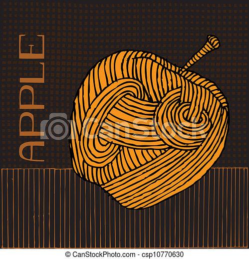 Woodcut Apple - csp10770630