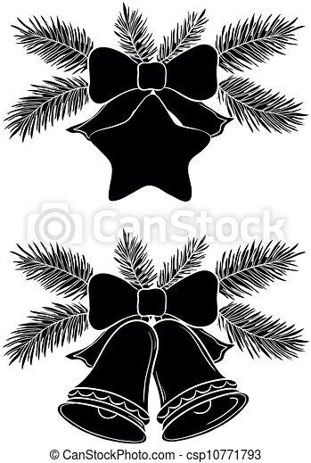 navidad, campanas, estrella - csp10771793
