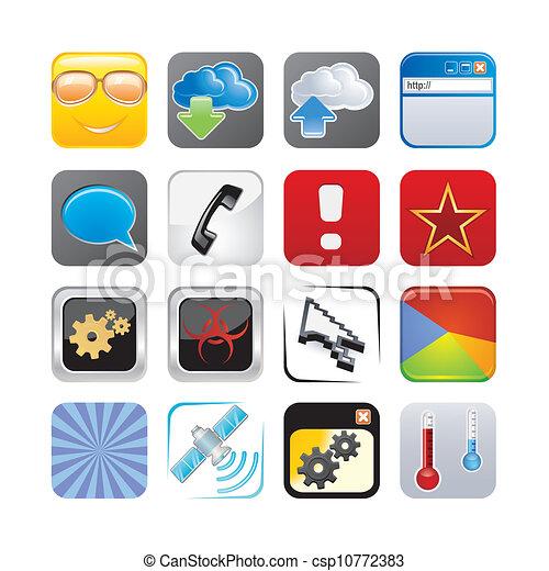 vektor von apps ikone satz vier csp10772383 suchen sie nach clip art illustration. Black Bedroom Furniture Sets. Home Design Ideas