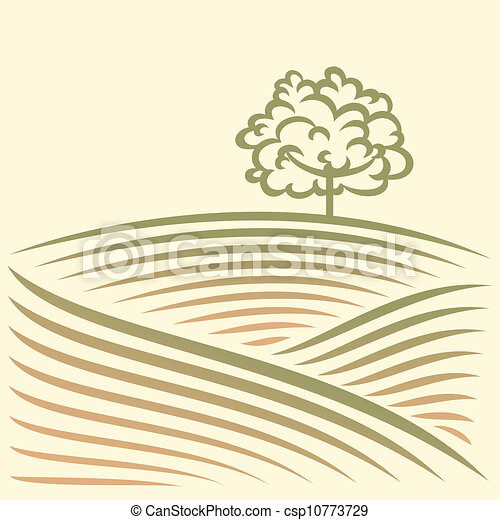 Rural landscape with field - csp10773729