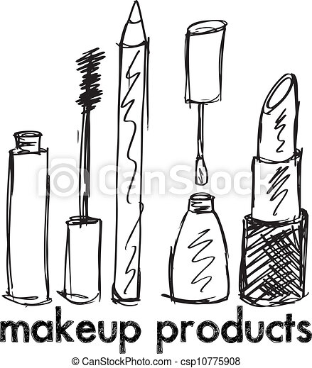 Sketch of Makeup products. Vector illustration - csp10775908