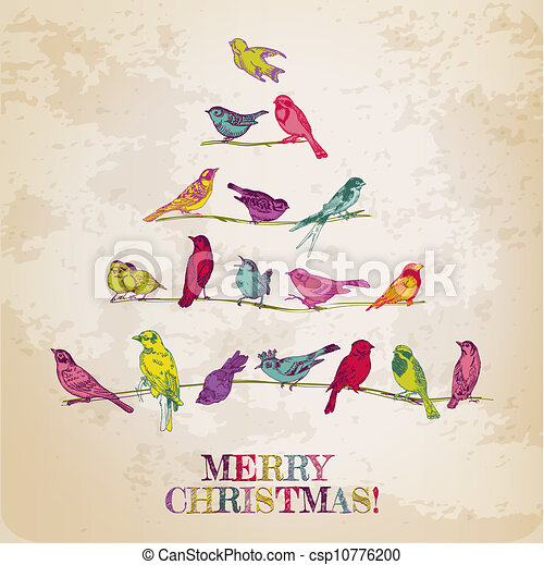 Retro Christmas Card - Birds on Christmas Tree - for invitation, congratulation in vector - csp10776200