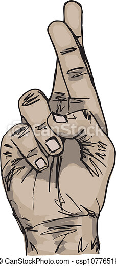 Vector Clip Art of Sketch of Hand with crossed fingers. Vector ...