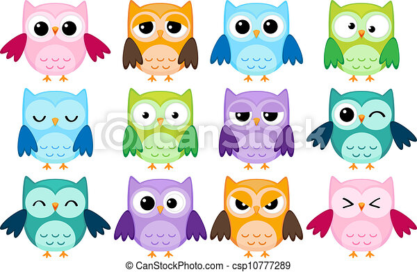 Cartoon owls - csp10777289