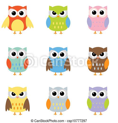 Color owls clip art - csp10777297
