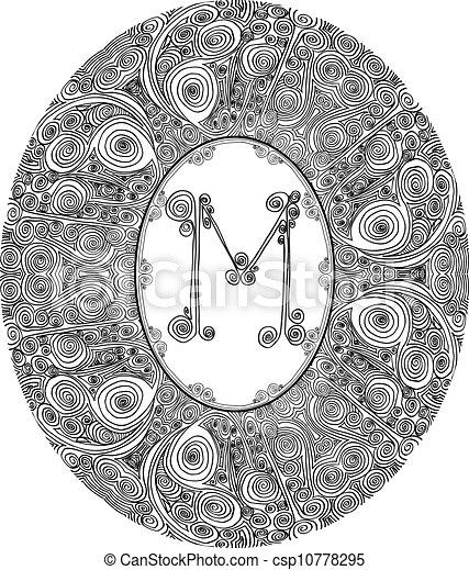 Hand draw font. Letter M. Vector illustration - csp10778295