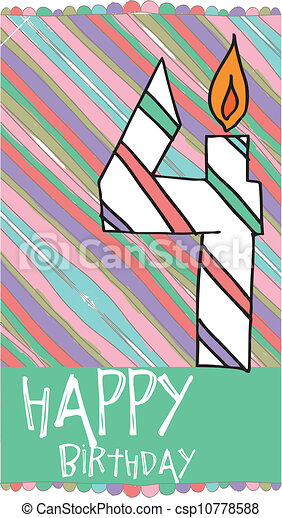 Illustration of Number 4 Birthday Candles with colorful background. vector illustration - csp10778588