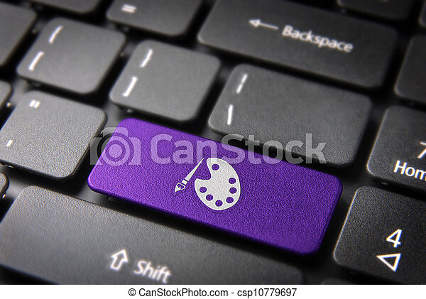 Violet keyboard key painting palette, art background - csp10779697