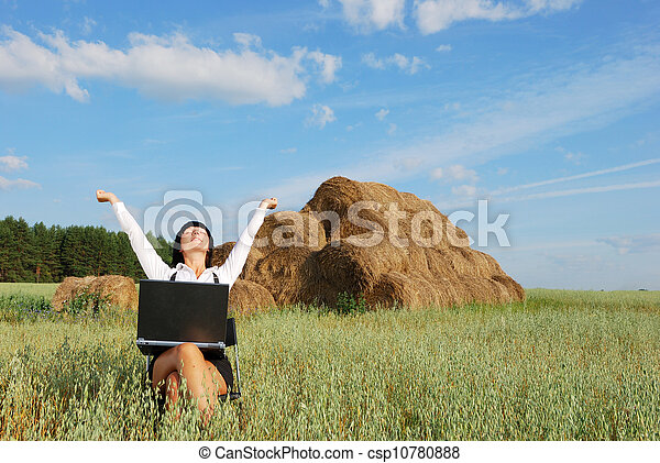 Working in agriculture field - csp10780888