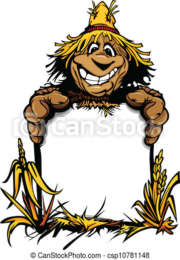 Cartoon Vector Image of a Happy Halloween Scare Crow with Smiling Expression Holding a Sign - csp10781148