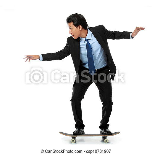 business man on skateboard - csp10781907