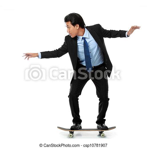 business man on skateboard - csp10781907