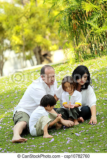 happy family in the park - csp10782760