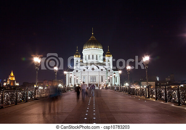 Orthodox church of Christ the Savior at night, Moscow  - csp10783203