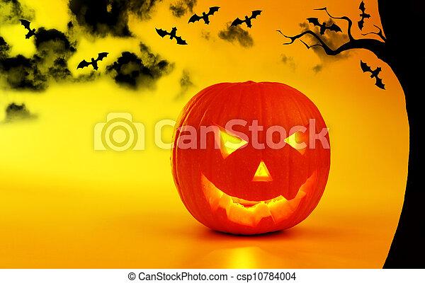 Holiday background Halloween pumpkin - csp10784004