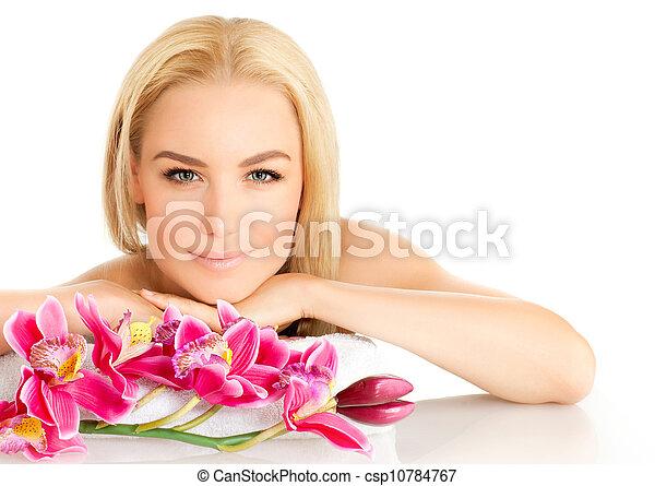 Cute girl in spa salon - csp10784767