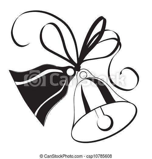 Glocke, Skizze, für, Weihnachten, oder, wedding, mit, Ikone, Element ...