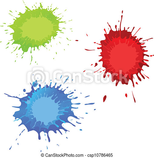 red green blue splashes with a place for the text - csp10786465
