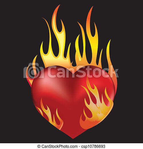 EPS Vectors of Heart in fire - Heart love in fire icon ...