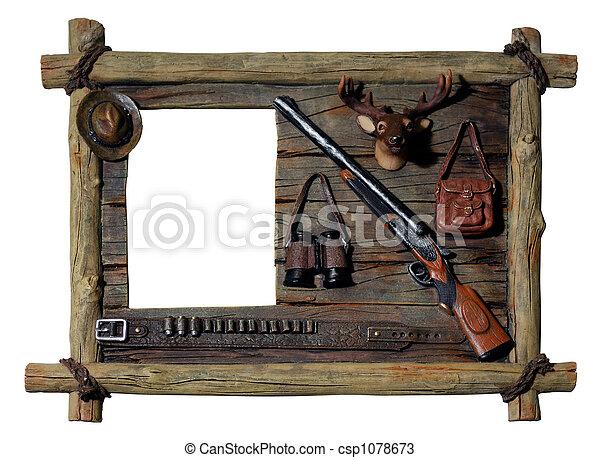 photo d coratif bois image cadre chasseur th me image images photo libre de droits. Black Bedroom Furniture Sets. Home Design Ideas