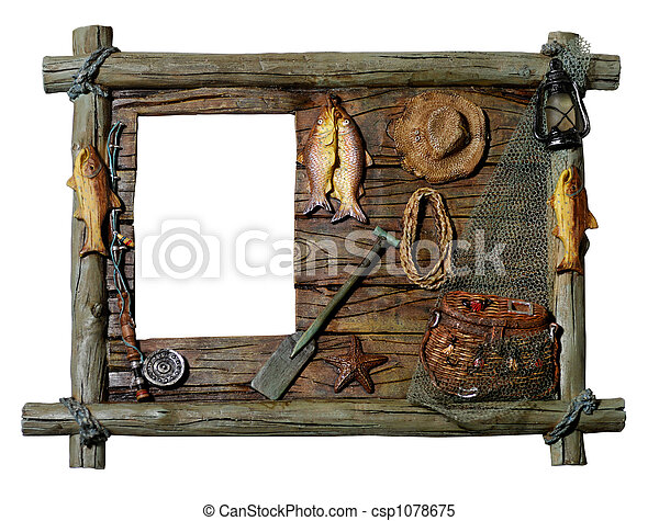 Stock images of decorative wooden picture frame fishing for Fish photo frame