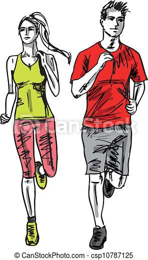 Illustration vecteur de croquis couple coureurs illustration vecteur marathon - Coureur dessin ...