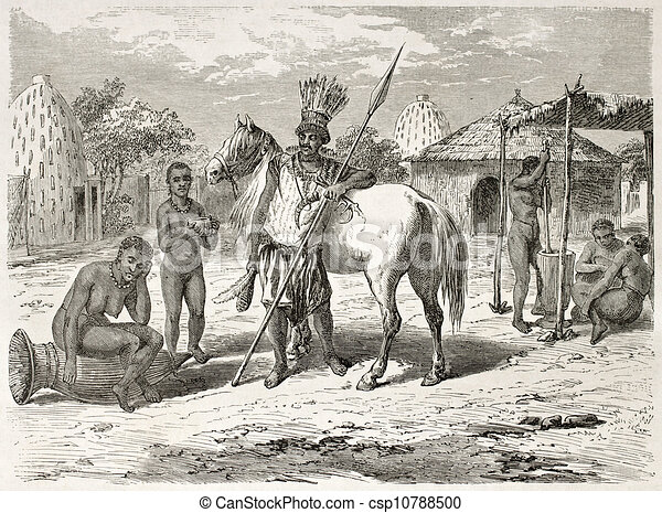 African Village Drawing African Tribal Leader