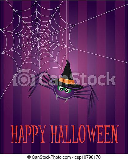 Halloween Spider and Web Illustration - csp10790170