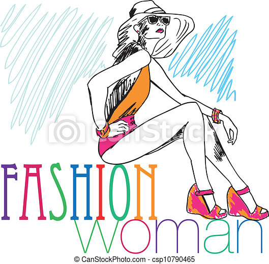Fashion Girl Clipart Sketch of Sexy Fashion Girl