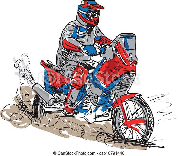 Sketch of motocross bike increase speed in track. Vector illustration - csp10791440
