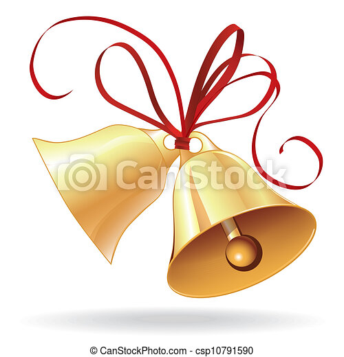Bell golden for  Christmas or wedding with red bow - csp10791590