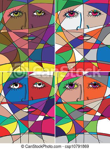 Clip Art Vector of Abstract woman face. Vector illustration ...