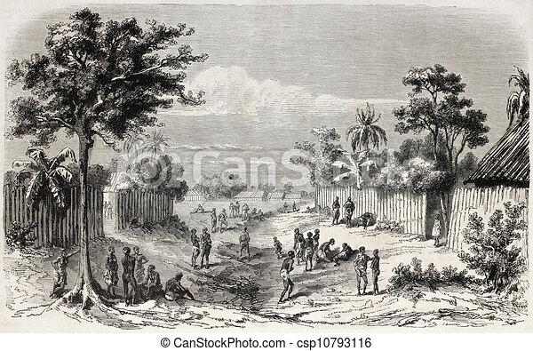 African Village Drawing African Coast Village