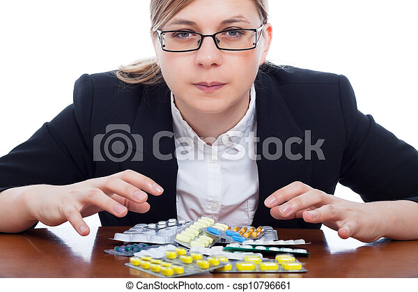 Woman and pharmaceuticals - csp10796661