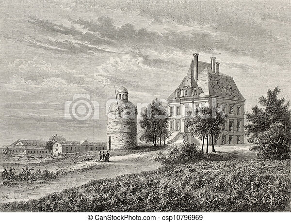 stock illustration of chateau la tour antique