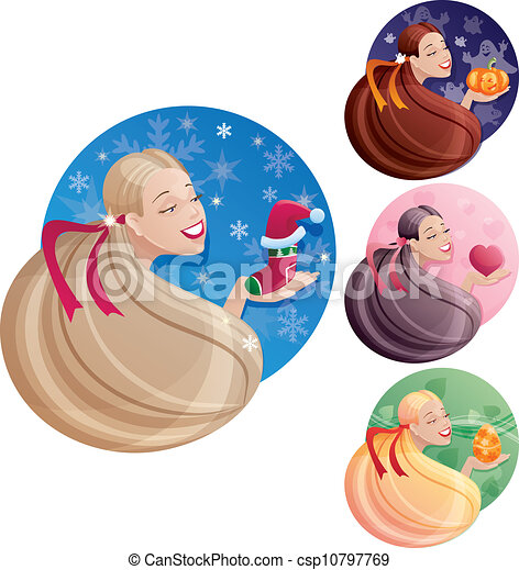 Set of long hair women's images which symbolize holidays - csp10797769
