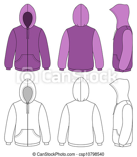 Template vector illustration of a blank hooded sweater. All objects