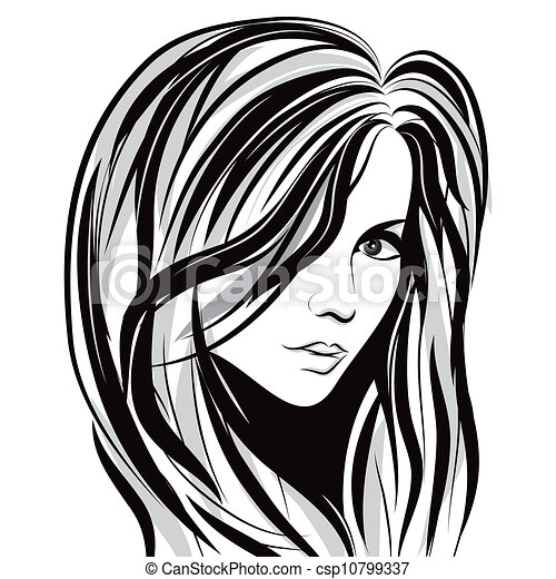 Graphic Girl Drawing Beauty Girl Face Csp10799337
